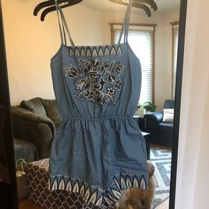Chambray romper with floral embroidery